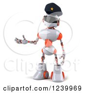 Clipart Of A 3d White And Orange Male Techno Robot Police Officer Presenting Royalty Free Illustration