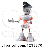 Clipart Of A 3d White And Orange Male Techno Robot Police Officer Presenting 2 Royalty Free Illustration