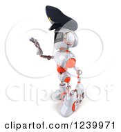 Clipart Of A 3d White And Orange Male Techno Robot Police Officer Gesturing To Stop Royalty Free Illustration