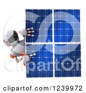 Clipart Of A 3d White And Orange Male Techno Robot Pointing Around A Solar Panel Royalty Free Illustration