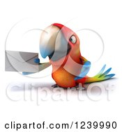 Clipart Of A 3d Macaw Parrot Holding An Envelope Royalty Free Illustration
