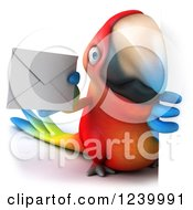 Clipart Of A 3d Macaw Parrot Holding An Envelope Around A Sign Royalty Free Illustration
