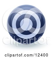 Blue Bullseye Target Circle Icon Internet Button Clipart Illustration