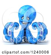 Clipart Of A 3d Happy Blue Octopus Royalty Free Illustration