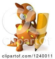 Clipart Of A 3d Orange Spotted Dinosaur With A Pencil 2 Royalty Free Illustration