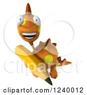 Clipart Of A 3d Orange Spotted Dinosaur With A Pencil 3 Royalty Free Illustration