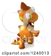 Clipart Of A 3d Orange Spotted Dinosaur Looking Around A Sign Royalty Free Illustration