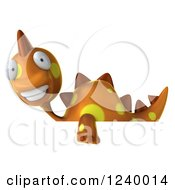 Clipart Of A 3d Orange Spotted Dinosaur Over A Sign 2 Royalty Free Illustration