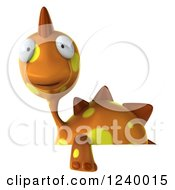 Clipart Of A 3d Orange Spotted Dinosaur Over A Sign Royalty Free Illustration