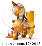 Clipart Of A 3d Orange Spotted Dinosaur With A Pencil Royalty Free Illustration