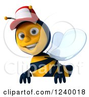 Clipart Of A 3d Bee Wearing A Baseball Cap Over A Sign 2 Royalty Free Illustration