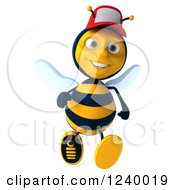 Clipart Of A 3d Bee Wearing A Baseball Cap And Running Royalty Free Illustration