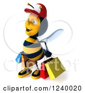 Clipart Of A 3d Bee Wearing A Baseball Cap And Carrying Shopping Bags Royalty Free Illustration