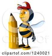 Clipart Of A 3d Bee Wearing A Baseball Cap And Standing With A Pencil Royalty Free Illustration