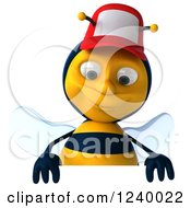 Clipart Of A 3d Bee Wearing A Baseball Cap Over A Sign Royalty Free Illustration