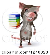 3d Happy Mouse Holding A Stack Of Books