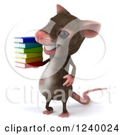 3d Happy Mouse Holding A Stack Of Books 2