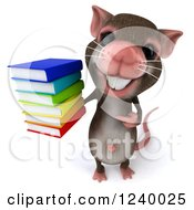 3d Happy Mouse Holding A Stack Of Books 3