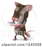 3d Happy Mouse Walking And Reading A Book 2