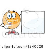 Clipart Of A Basketball Mascot Holding And Pointing To A Blank Sign Royalty Free Vector Illustration by Hit Toon