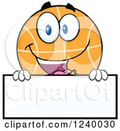 Clipart Of A Basketball Mascot Over A Blank Sign Royalty Free Vector Illustration by Hit Toon