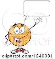 Clipart Of A Talking Basketball Mascot Waving Royalty Free Vector Illustration by Hit Toon