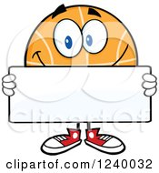 Clipart Of A Basketball Mascot Holding A Blank Sign Royalty Free Vector Illustration by Hit Toon