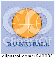 Clipart Of A Basketball With Text Over Purple Royalty Free Vector Illustration by Hit Toon