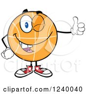 Clipart Of A Basketball Mascot Winking And Holding A Thumb Up Royalty Free Vector Illustration