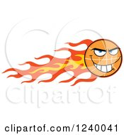 Clipart Of A Basketball Mascot With Flames Royalty Free Vector Illustration by Hit Toon