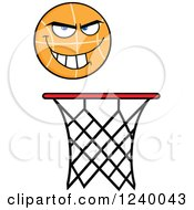Clipart Of A Basketball Mascot Over A Hoop Royalty Free Vector Illustration by Hit Toon