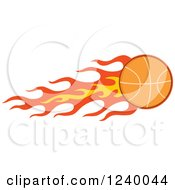 Clipart Of A Basketball With A Trail Of Flames Royalty Free Vector Illustration by Hit Toon