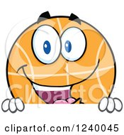 Clipart Of A Basketball Mascot Over A Sign Royalty Free Vector Illustration by Hit Toon