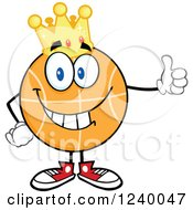 Clipart Of A Basketball Mascot Wearing A Crown And Holding A Thumb Up Royalty Free Vector Illustration