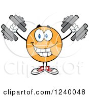 Clipart Of A Basketball Mascot Working Out With Dumbbells Royalty Free Vector Illustration by Hit Toon
