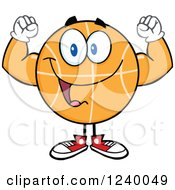 Clipart Of A Basketball Mascot Flexing His Biceps Royalty Free Vector Illustration by Hit Toon
