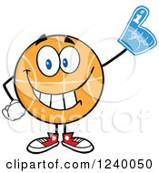 Clipart Of A Basketball Mascot Sports Fan With A Foam Finger Royalty Free Vector Illustration