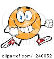 Clipart Of A Basketball Mascot Running Royalty Free Vector Illustration by Hit Toon