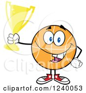 Clipart Of A Basketball Mascot Champion Holding A Trophy Cup Royalty Free Vector Illustration