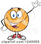 Clipart Of A Basketball Mascot Waving Royalty Free Vector Illustration by Hit Toon