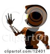 Futuristic Humanlike Robot Holding Up His Hand