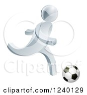 Clipart Of A 3d Silver Man Playing Soccer Royalty Free Vector Illustration by AtStockIllustration