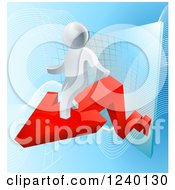 Clipart Of A 3d Successful Silver Businessman Riding A Red Arrow Off Of A Chart Royalty Free Vector Illustration
