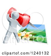 Clipart Of A 3d Silver Man Pinning A Photograph Royalty Free Vector Illustration