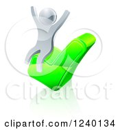 Clipart Of A 3d Silver Man Cheering On A Check Mark Royalty Free Vector Illustration