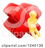 Clipart Of A 3d Gold Man With A Red Cross X Mark Royalty Free Vector Illustration