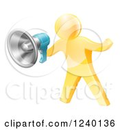 Clipart Of A 3d Gold Man Announcing With A Megaphone Royalty Free Vector Illustration