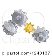 Clipart Of 3d Gold And Silver Gear Cogs Royalty Free Vector Illustration