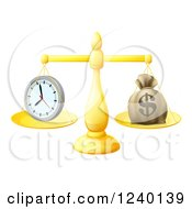 Clipart Of A 3d Golden Scales Balancing A Clock And Money Bag Royalty Free Vector Illustration