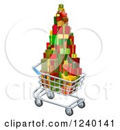 Clipart Of A 3d Shopping Cart With Christmas Presents Royalty Free Vector Illustration